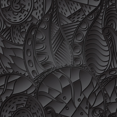 bracing: Tracery seamless calming black pattern. Mehendi design. Neat even harmonious doodle texture. Ambitious bracing usable handmade, discreet curved doodling mehndi. Indifferent faded motif. Vector. Illustration