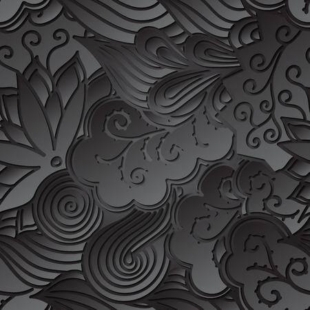 soulful: Tracery seamless calming black pattern. Mehendi design. Neat even harmonious doodle texture. Ambitious bracing usable handmade, discreet curved doodling mehndi. Indifferent faded motif. Vector. Illustration