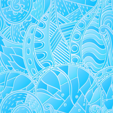 bracing: Tracery seamless calming blue pattern. Mehendi design. Neat even harmonious doodle texture. Ambitious bracing usable handmade, discreet curved doodling mehndi. Indifferent faded motif. Vector.