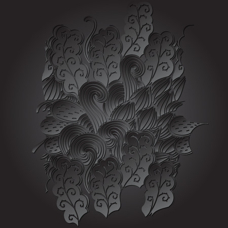 extravagant: Tracery calming black shape. Mehendi design. Neat even harmonious doodle texture. Ambitious bracing usable handmade, discreet curved doodling mehndi. Indifferent faded motif. Vector.