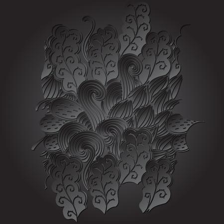 discreto: TRACERY forma negro calmante. mehendi diseño. Neat textura del doodle incluso armoniosa. Ambicioso refuerzo hecha a mano utilizable, discreta mehndi garabatos curvada. Indiferente motivo se desvaneció. Vector. Vectores