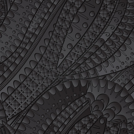 discreto: Tracery seamless calming black pattern. Mehendi design. Neat even harmonious doodle texture. Ambitious bracing usable handmade, discreet curved doodling mehndi. Indifferent faded motif. Vector. Vectores