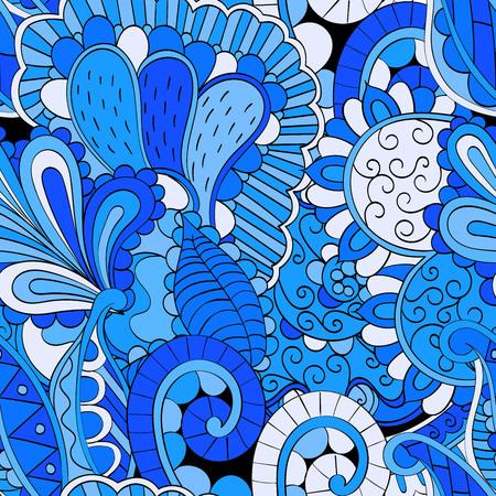 discreto: TRACERY patr�n calmante sin fisuras. mehendi dise�o. Neat incluso textura colorida del doodle armoniosa. Las algas tema del mar. discreta indiferente. Ambicioso refuerzo utilizable, mehndi garabatos curvada. Vector.