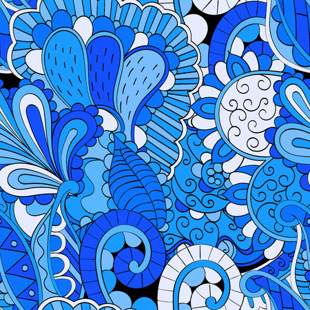 mehendi: Tracery seamless calming pattern. Mehendi design. Neat even colorful harmonious doodle texture. Algae sea motif. Indifferent discreet. Ambitious bracing usable, curved doodling mehndi. Vector.