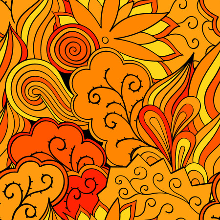 orange pattern: Tracery seamless calming orange pattern. Mehendi design. Neat even harmonious doodle texture. Ambitious bracing usable handmade, discreet curved doodling mehndi. Indifferent faded motif. Vector.