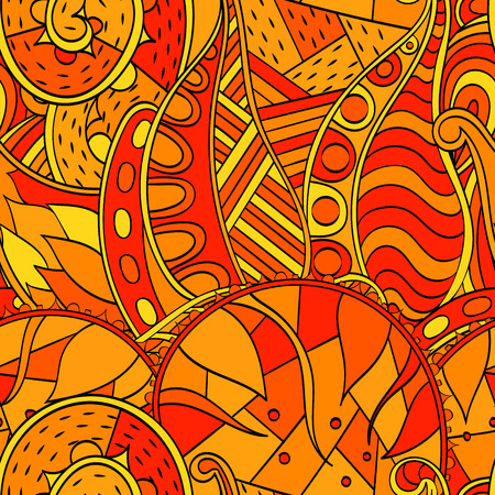 bracing: Tracery seamless calming orange pattern. Mehendi design. Neat even harmonious doodle texture. Ambitious bracing usable handmade, discreet curved doodling mehndi. Indifferent faded motif. Vector.