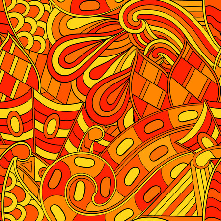 nodules: Tracery seamless calming orange pattern. Mehendi design. Neat even harmonious doodle texture. Ambitious bracing usable handmade, discreet curved doodling mehndi. Indifferent faded motif. Vector.