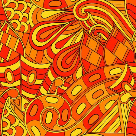 metaphorical: Tracery seamless calming orange pattern. Mehendi design. Neat even harmonious doodle texture. Ambitious bracing usable handmade, discreet curved doodling mehndi. Indifferent faded motif. Vector.