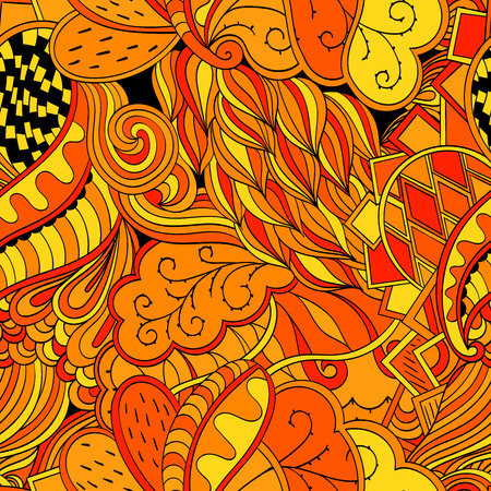 discreto: Tracery seamless calming orange pattern. Mehendi design. Neat even harmonious doodle texture. Ambitious bracing usable handmade, discreet curved doodling mehndi. Indifferent faded motif. Vector.
