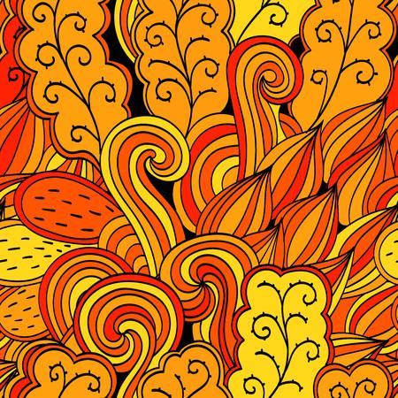 discreto: Tracer�a modelo anaranjado calmante sin fisuras. Dise�o Mehendi. Neat textura garabato incluso armoniosa. Ambicioso artesanal utilizable arriostramiento, discreto mehndi garabatos curva. Indiferente desvaneci� motivo. Vector.