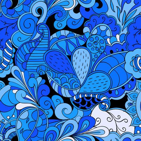 discreto: TRACERY patrón calmante sin fisuras. mehendi diseño. Neat incluso textura colorida del doodle armoniosa. Las algas tema del mar. discreta indiferente. Ambicioso refuerzo utilizable, mehndi garabatos curvada. Vector.