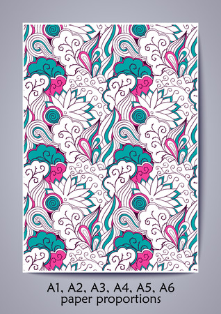 A1, A2, A3, A4, A5, A6 ISO paper proportions. Tracery calming pattern. Mehendi design. Neat even blue rose harmonious doodle texture.Indifferent discreet. Bracing usable doodling mehndi cover. Vector.