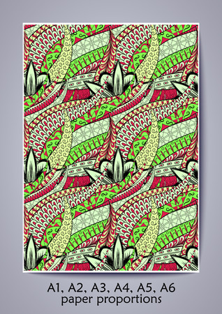 bracing: A1, A2, A3, A4, A5, A6 ISO paper proportions. Tracery calming pattern. Mehendi design. Neat even green harmonious doodle texture. Indifferent discreet. Bracing usable doodling mehndi cover. Vector.