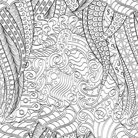 harmonious: Tracery seamless calming pattern. Mehendi design. Neat even binary harmonious doodle texture. Algae sea motif. Indifferent ethnical. Ambitious bracing usable, curved doodling mehndi. Vector.