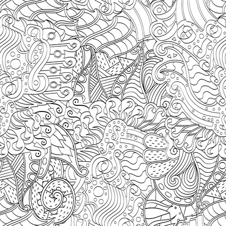 metaphorical: Tracery seamless calming pattern. Mehendi design. Neat even binary harmonious doodle texture. Algae sea motif. Indifferent ethnical. Ambitious bracing usable, curved doodling mehndi. Vector.