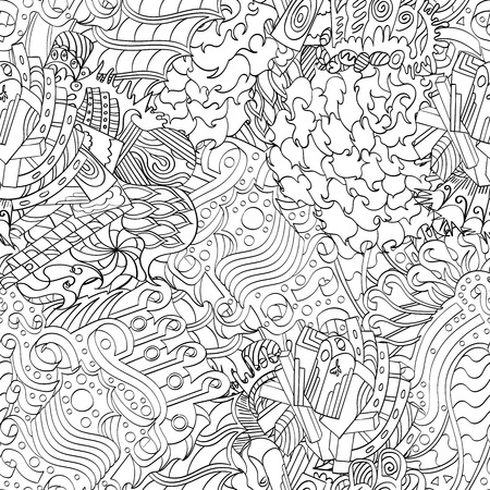 Seamless pattern, symbolizing the subconscious. Scraps of thought, spikes, hooks show the world of the unconscious. It symbolizes fears, dreams, fantasies. Binary monochrome.