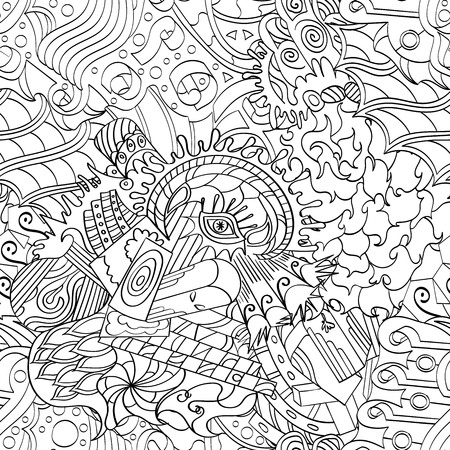 existentialism: Seamless pattern, symbolizing the subconscious. Scraps of thought, spikes, hooks show the world of the unconscious. It symbolizes fears, dreams, fantasies. Binary monochrome.