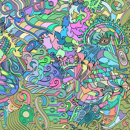 hypnotism: Patr�n, que simboliza el subconsciente. Recortes de pensamiento, picos, ganchos mostrar al mundo de lo inconsciente. Simboliza miedos, sue�os, fantas�as. Color. Vectores