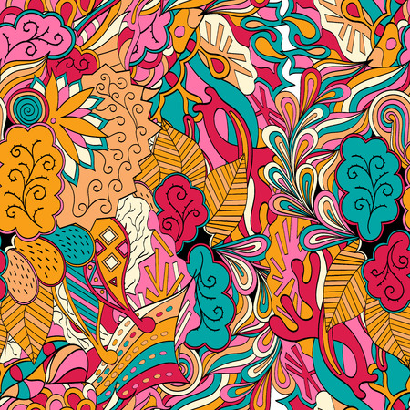 metaphorical: Tracery seamless calming orange pattern with blue, red. Mehendi design. Neat even harmonious doodle texture. Ambitious bracing usable, discreet curved doodling mehndi. Indifferent faded motif. Vector.