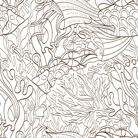 uncovered: Tracery seamless calming pattern. Mehendi design. Neat even binary harmonious doodle texture. Algae sea motif. Indifferent ethnical. Ambitious bracing usable, curved doodling mehndi. Vector.