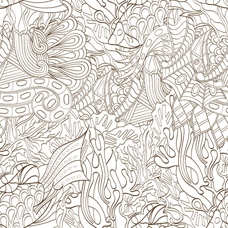ethnical: Tracery seamless calming pattern. Mehendi design. Neat even binary harmonious doodle texture. Algae sea motif. Indifferent ethnical. Ambitious bracing usable, curved doodling mehndi. Vector.