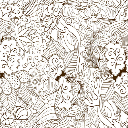 soulful: Tracery seamless calming pattern. Mehendi design. Neat even binary harmonious doodle texture. Algae sea motif. Indifferent ethnical. Ambitious bracing usable, curved doodling mehndi. Vector.