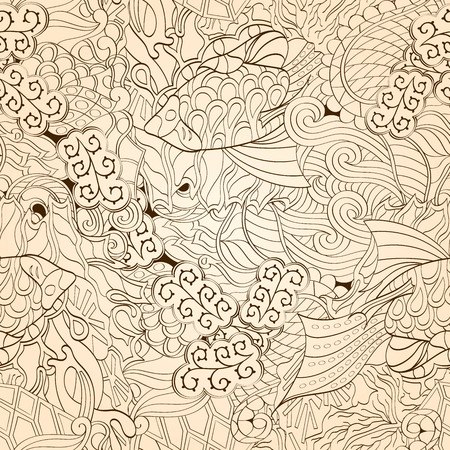 metaphorical: Tracery seamless calming pattern. Mehendi design. Neat even monochrome harmonious doodle texture. Algae sea motif. Indifferent ethnical. Ambitious bracing usable, curved doodling mehndi. Vector.