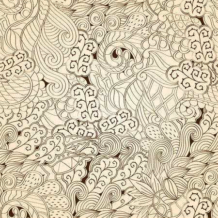 bracing: Tracery seamless calming pattern. Mehendi design. Neat even monochrome harmonious doodle texture. Algae sea motif. Indifferent ethnical. Ambitious bracing usable, curved doodling mehndi. Vector.