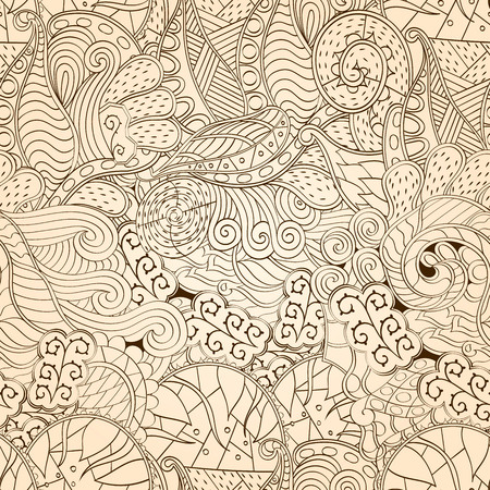 nodules: Tracery seamless calming pattern. Mehendi design. Neat even monochrome harmonious doodle texture. Algae sea motif. Indifferent ethnical. Ambitious bracing usable, curved doodling mehndi. Vector.