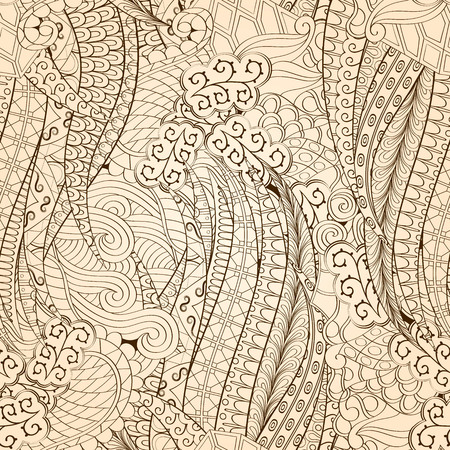ethnical: Tracery seamless calming pattern. Mehendi design. Neat even monochrome harmonious doodle texture. Algae sea motif. Indifferent ethnical. Ambitious bracing usable, curved doodling mehndi. Vector.