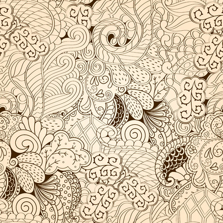 uncovered: Tracery seamless calming pattern. Mehendi design. Neat even monochrome harmonious doodle texture. Algae sea motif. Indifferent ethnical. Ambitious bracing usable, curved doodling mehndi. Vector.