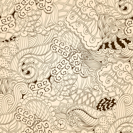 fullness: Tracery seamless calming pattern. Mehendi design. Neat even monochrome harmonious doodle texture. Algae sea motif. Indifferent ethnical. Ambitious bracing usable, curved doodling mehndi. Vector.