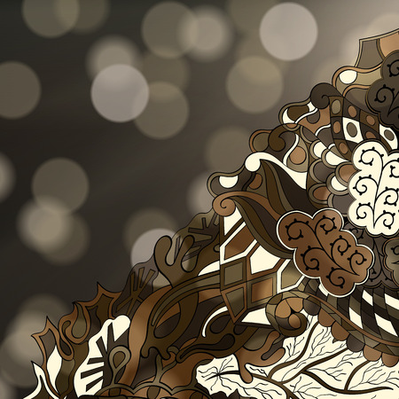 nodules: Tracery calming pattern. Mehendi design. Neat even brown harmonious doodle texture. Algae sea motif. Indifferent discreet. Ambitious bracing usable, curved doodling mehndi. Vector.