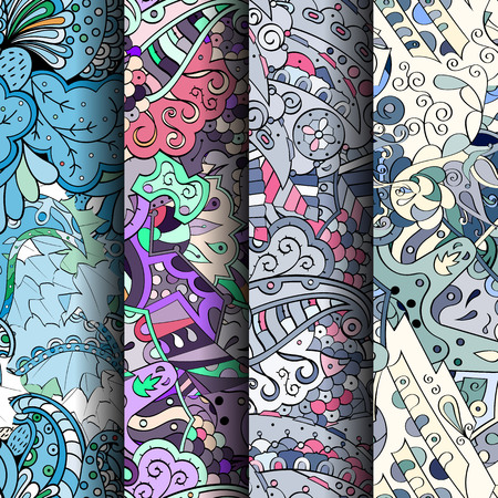 doodling: Set of tracery colorful seamless patterns. Curved doodling patterns for textile or printing with mehndi and ethnic motives. Vector