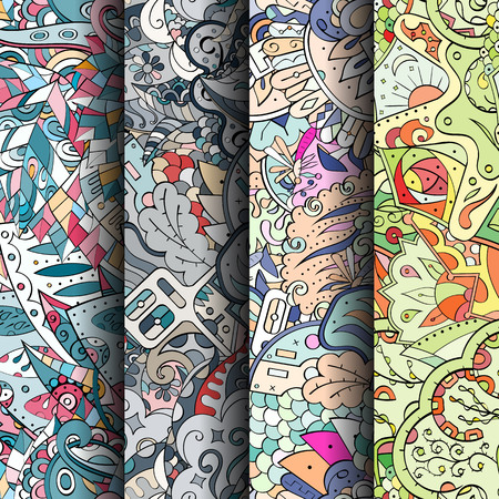 translucent: Set of tracery colorful seamless patterns. Curved doodling patterns for textile or printing with mehndi and ethnic motives. Vector