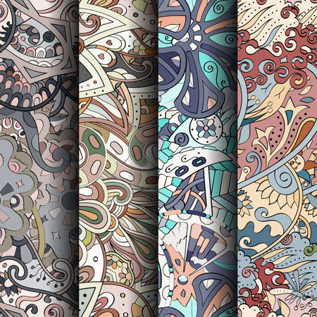 speckle: Set of tracery colorful seamless patterns. Curved doodling backgrounds for textile or printing with mehndi and ethnic motives. Vector Stock Photo