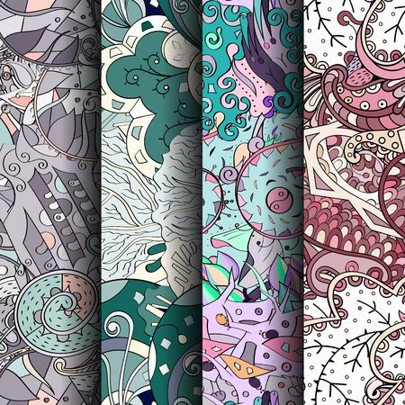 festival scales: Set of tracery colorful seamless patterns. Curved doodling backgrounds for textile or printing with mehndi and ethnic motives. Vector Stock Photo