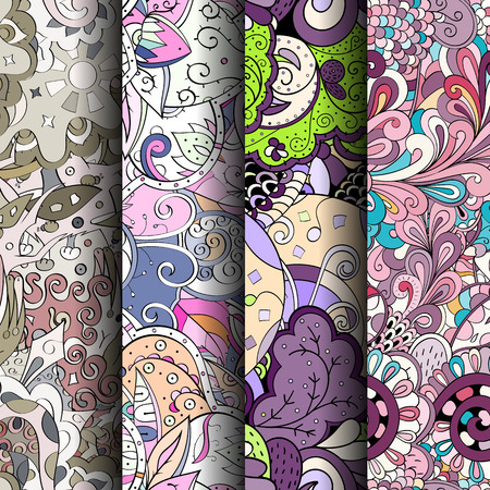scratches: Set of tracery colorful seamless patterns. Curved doodling backgrounds for textile or printing with mehndi and ethnic motives. Vector Stock Photo