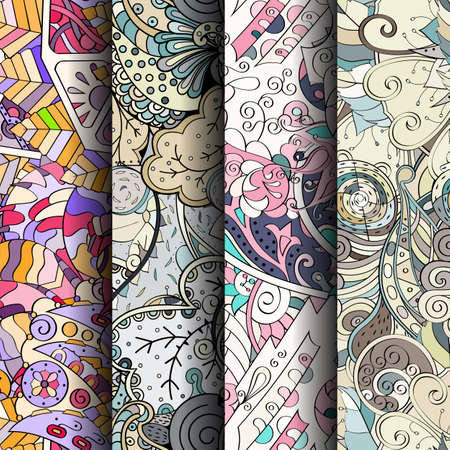 fairy: Set of tracery colorful seamless patterns. Curved doodling backgrounds for textile or printing with mehndi and ethnic motives. Vector Stock Photo