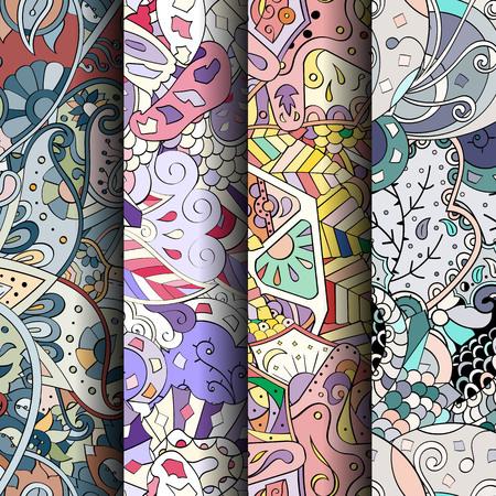 Conjunto de patrones de colores sin fisuras de tracería. garabatos patrones curvos para la industria textil o la impresión con mehndi y los motivos étnicos. Vector