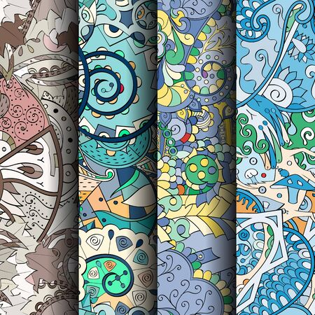 figura: Set of tracery colorful seamless patterns. Curved doodling backgrounds for textile or printing with mehndi and ethnic motives. Vector Banco de Imagens