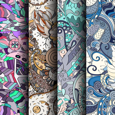 Set of tracery colorful seamless patterns. Curved doodling backgrounds for textile or printing with mehndi and ethnic motives. Vector Vector Illustration