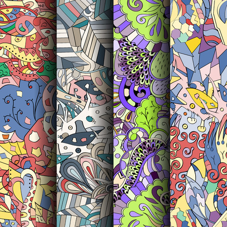 fairy: Set of tracery colorful seamless patterns. Curved doodling patterns for textile or printing with mehndi and ethnic motives. Vector