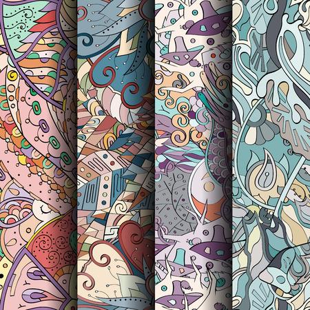 Conjunto de patrones de colores sin fisuras de tracería. Curvos fondos garabatos para la industria textil o la impresión con mehndi y los motivos étnicos. Vector