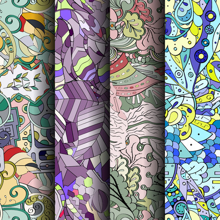 feminity: Set of tracery colorful seamless patterns. Curved doodling pattern for textile or printing with mehndi and ethnic motives. Vector Illustration