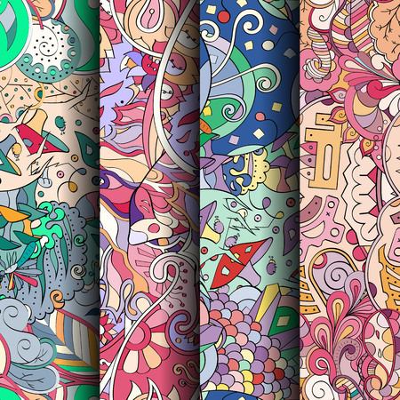 Set of tracery colorful seamless patterns. Curved doodling patterns for textile or printing with mehndi and ethnic motives. Vector