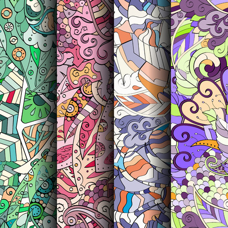 fairy: Set of tracery colorful seamless patterns. Curved doodling backgrounds for textile or printing with mehndi and ethnic motives. Vector Illustration