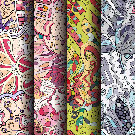 ethno: Set of tracery colorful seamless patterns. Illustration