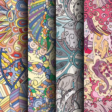 fairy: Set of tracery colorful seamless patterns. Curved doodling backgrounds for textile or printing with mehndi and ethnic motives.