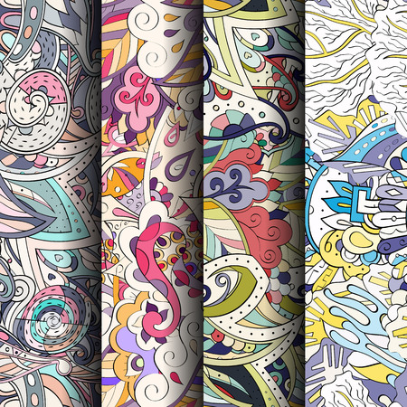 fairy: Set of tracery colorful seamless patterns. Illustration